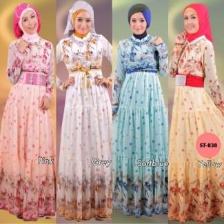 Model Baju Gamis Sifon Kembang Paling Cantik dan Terbaru
