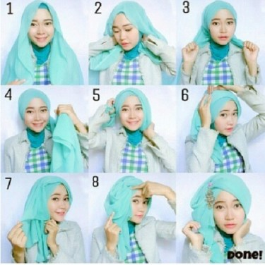 Tutorial Hijab Paris Sederhana 4