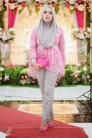 Model Kebaya Brokat dengan Kombinasi Celana