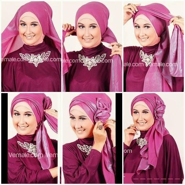 Tutorial Hijab Pesta untuk Pernikahan dengan Model Pashmina Satin
