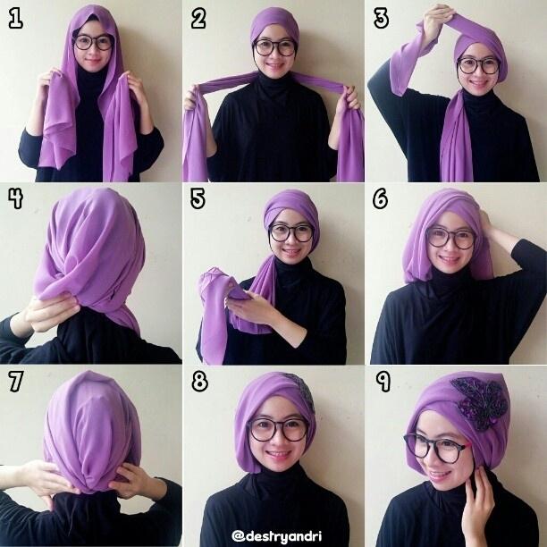 Tutorial Hijab Segi Empat untuk Pesta Pernikahan Simpel