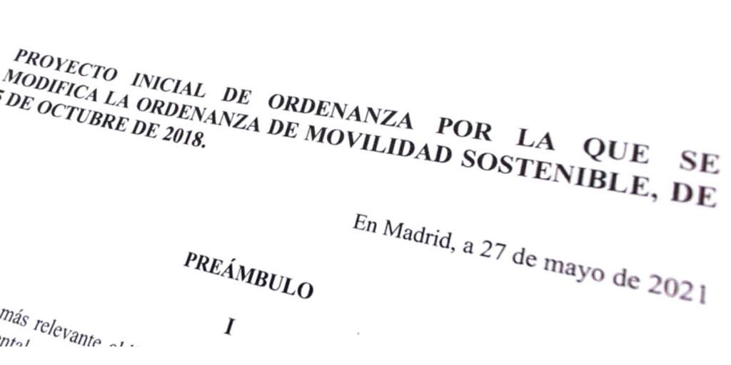 Encabezado del proyecto inicial de modificación de la Ordenanza de Movilidad Sostenible de Madrid