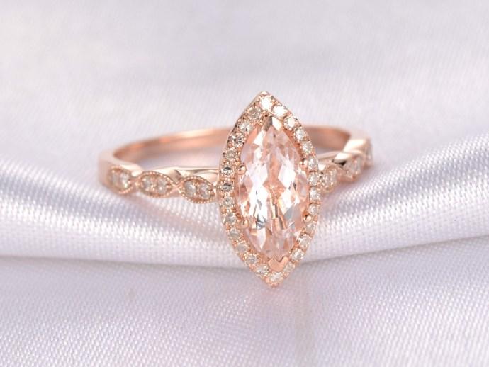 morganite, engagement fashion ring