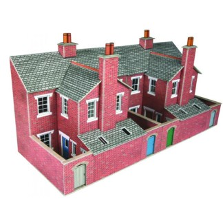 Metcalfe PO276 Low Relief Red Brick Terraced House Backs (OO scale)