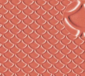 Slaters 0438 4mm Roof Tile (Scalloped Shell Type) Red Embossed Plastikard
