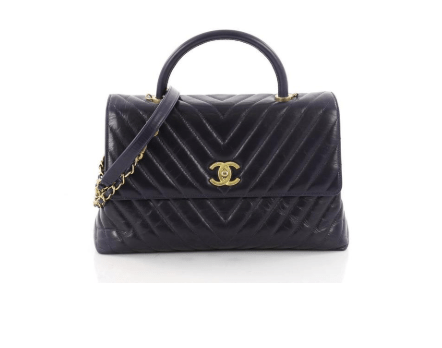 Chanel Coco Top Handle Chevron Large Navy Calfskin Leather Shoulder Bag  here (from Tradesy) ee0656aad59c0