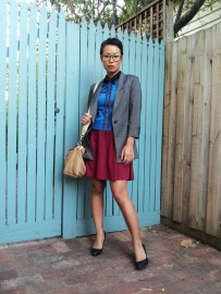 Day 83: I am wearing a maroon dress with a short sleeve lace shirt, royal blue sweater, bow tie, ¾ length sleeve blazer, pumps and large Coach bag