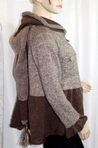 Veste Alice à capuche de lutin, couleur taupe
