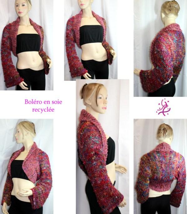 Vous cherchez un boléro chic et lumineux pour accompagner un top ou une robe sans manche? Alors ce boléro en soie recyclé sera parfait!