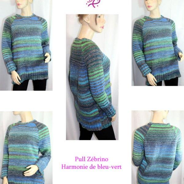 Pull Zébrino, harmonie de bleu-vert