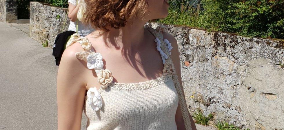 Top d'été fleuri en coton recyclé