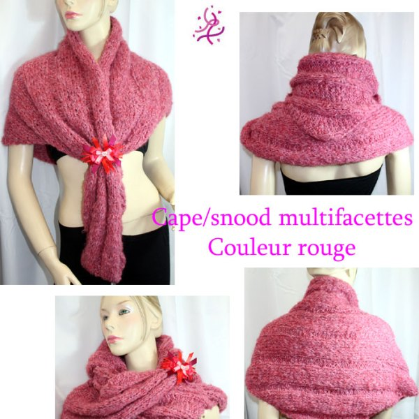 Cape/snood multifacettes, couleur rouge