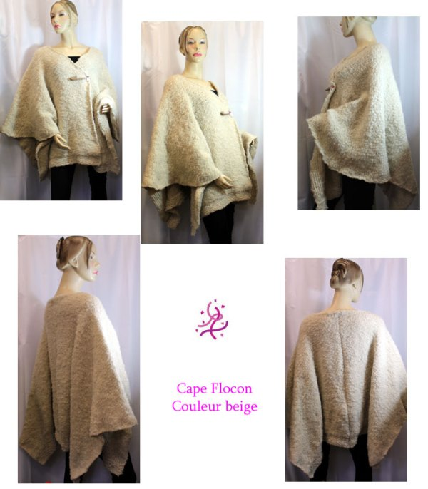 Cape flocon, couleur beige