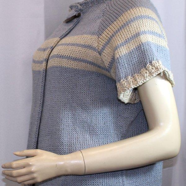 Veste à manches courtes, en lin et coton, grises et rayures écrues