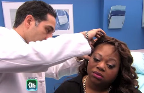 Dr. Yazdan examing an African American patient who had traction alopecia on The Doctor's TV Show.
