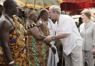February 20, 2008 – President George W. Bush and Mrs. Laura Bush greet Ghanaian tribal chiefs and members of tribes, in Accra, Ghana. President Bush met with 30 tribal chiefs during his visit to the International Trade Fair Center. (White House photo by Shealah Craighead.)