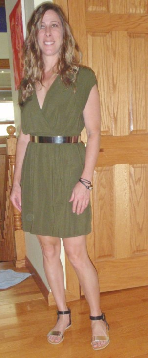 olive surplice dress