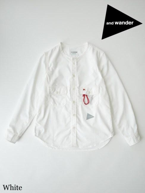 and wander,アンドワンダー ,W's dry ox collarless shirt #White ,ドライオックス ノーカラーシャツ ウィメンズ