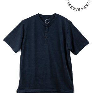 山と道|Merino Henry Neck T-shirt   #Navy