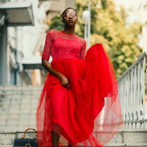 modern brands black woman red dress