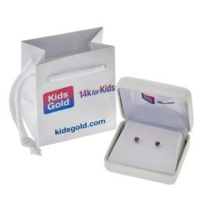 Kids 14k Gold Genuine Birthstone Earrings