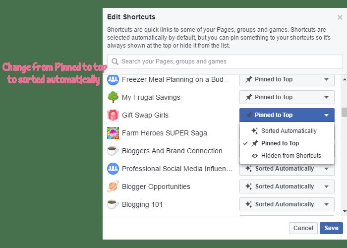 Edit Facebook Shortcuts Menu