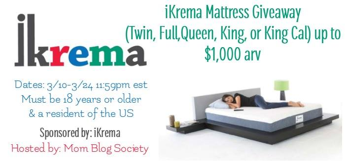 Enter to Win this Memory Foam iKrema Mattress Giveaway! Ends 3/24/17