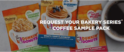 Request FREE Dunkin' Donuts Coffee – 3 Sample Packs Bakery Flavors