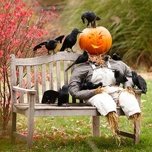 Include a Jack-o'-Lantern Spooky Scarecrow with your Halloween Decorations