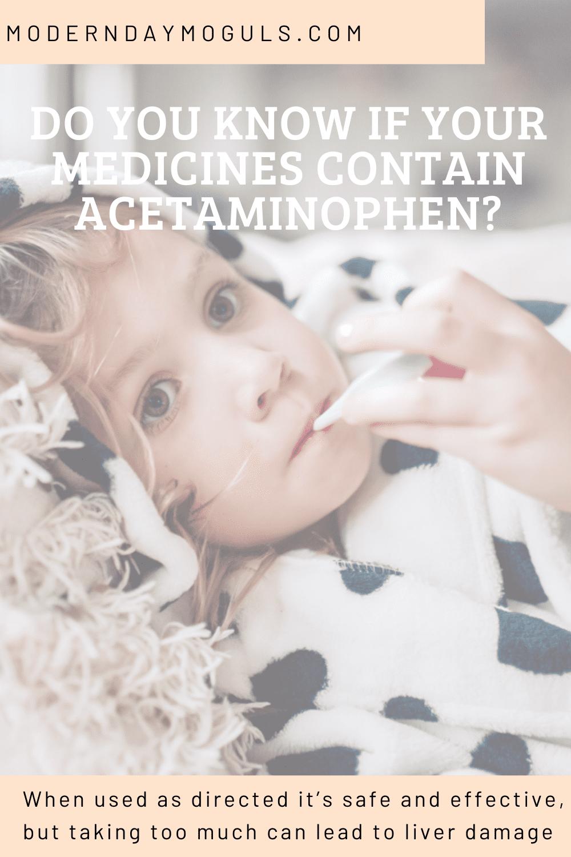 Acetaminophen for Flu by popular Nashville lifestyle blog, Modern Day Moguls: Pinterest image of Acetaminophen for flu symptoms.