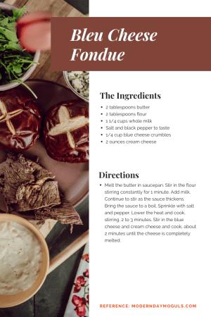 Blue cheese fondue recipe | Burger and Beats by popular Nashville lifestyle blog, Modern Day Moguls: image of a bleu cheese fondu recipe.