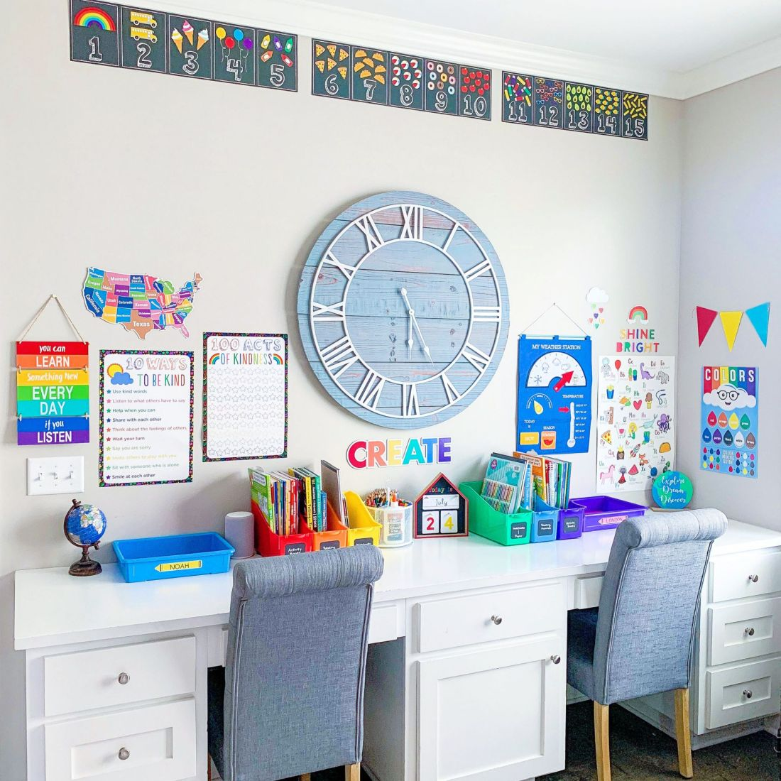 Homeshcool Room by popular Nashville life and style blog, Modern Day Moguls: image of a homeschool room with tuft chairs, large wooden wall clock, colorful plastic bins, and wall charts.