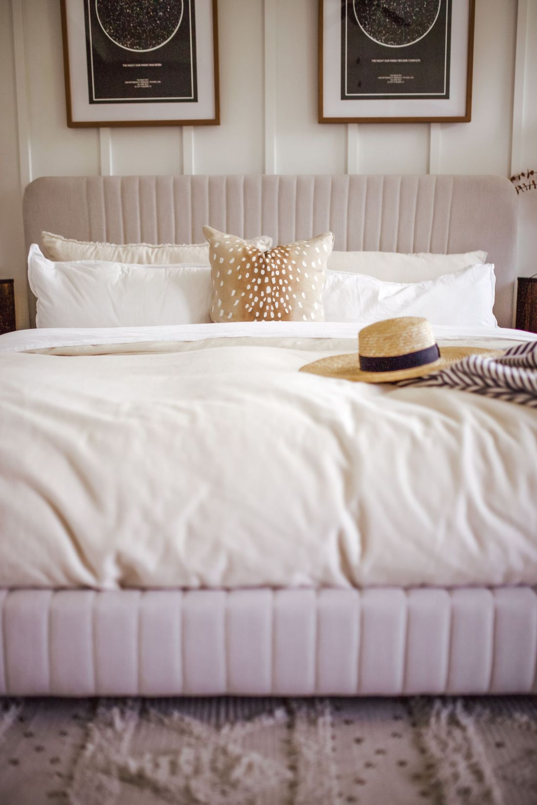 master bedroom refresh   Master Bedroom Remodel Ideas by popular Nashville life and style blog, Modern Day Moguls: image of a master bedroom with a velvet bed frame, white bedding and a antelope print throw pillow.