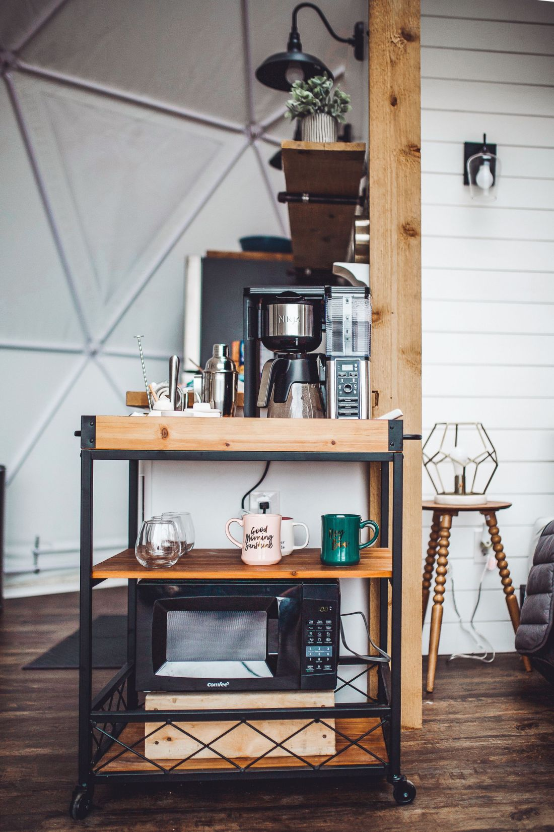 Glamping in Tennessee by popular Nashville lifestyle blog, Modern Day Moguls: image of a bar cart inside a geodesic dome.