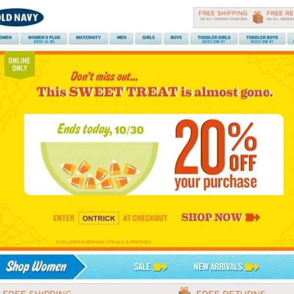 Old navy coupon code ends today. 20% off. Use: ONTRICK