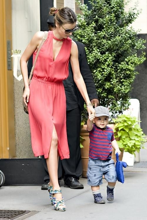 Miranda Kerr and son Flynn seen leaving for a photo-shoot in NYC