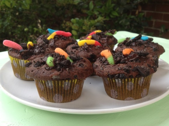 Dirt and Worm Cupcakes