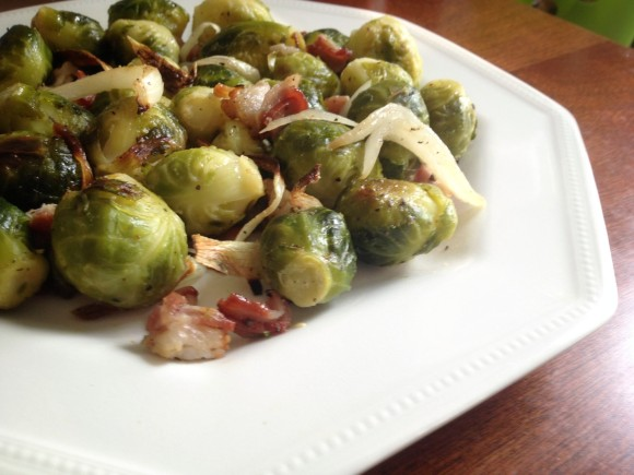 Roasted Brussels Sprouts with Bacon and Apple Cider Vinegar