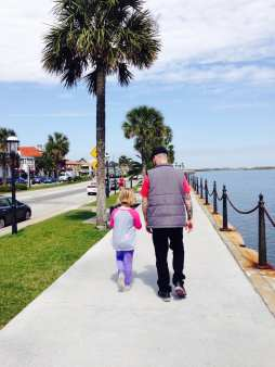 Walking along the waterfront