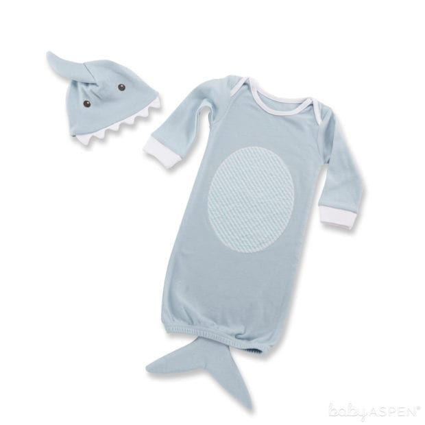 shark-gown-and-cap-blue-layed-out