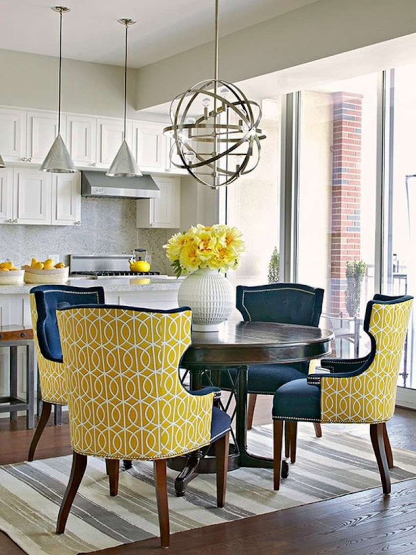 Navy And Cream Accent Chair