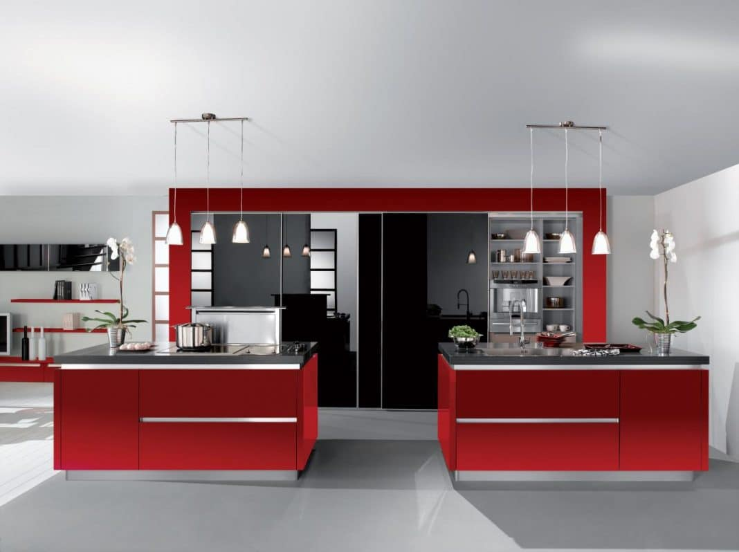White Kitchen Red Accents