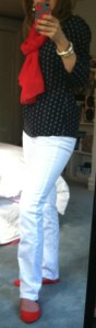 Navy patterned top, white denim, red scarf, red shoes
