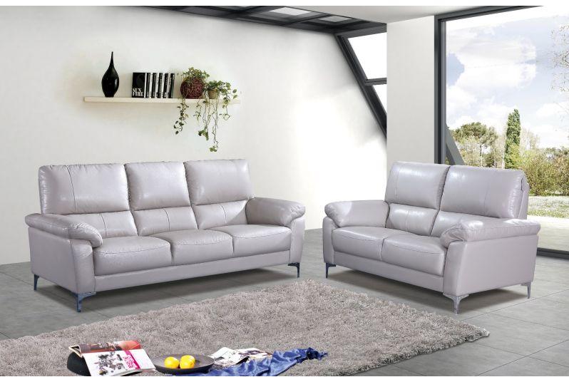 margo top grain leather sofa and loveseat set light grey