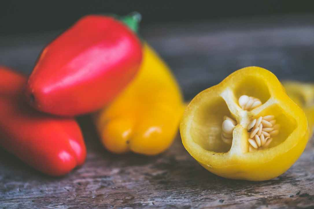 Cut peppers with seeds