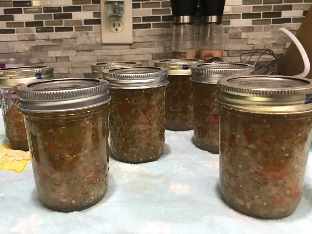 Sweet Pickle Relish in mason jars canning recipe