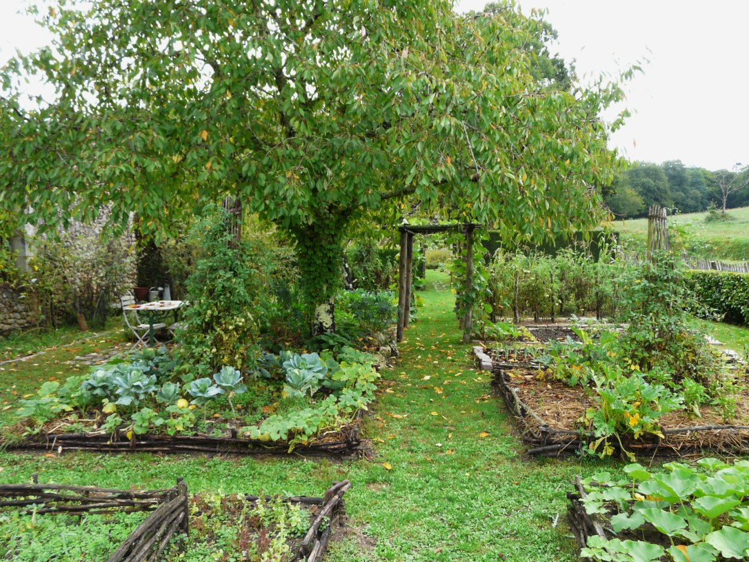 raised bed vegetable garden with woven wattle potager design