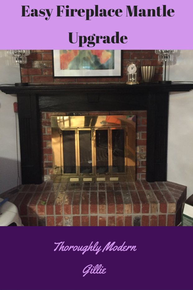 image of fireplace with black mantle Easy Fireplace Mantle Upgrade