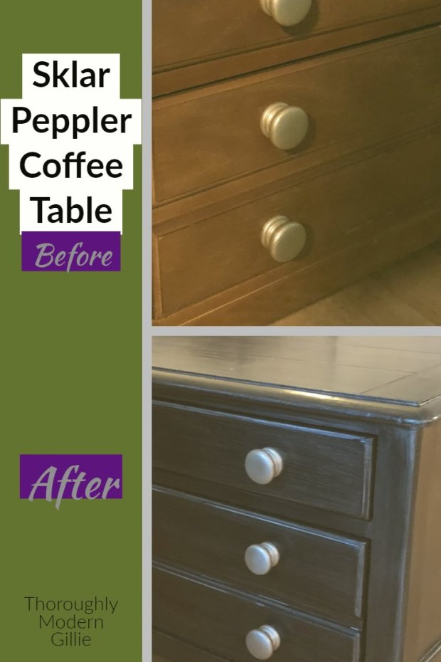Sklar Peppler Coffee Table Makeover, www.moderngillie.com, #coffetable makeover #furnituremakeover #furniturerefinish #refinishfurniture #sklarpeppler #rustoleumpaint #varethane #thriftshop #thriftshopfind #coffetable #fearlessDIY