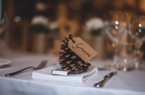 wedding venue table setting groom